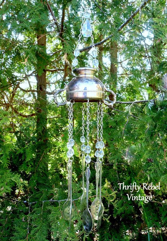 repurposed silver sugar bowl wind chimes