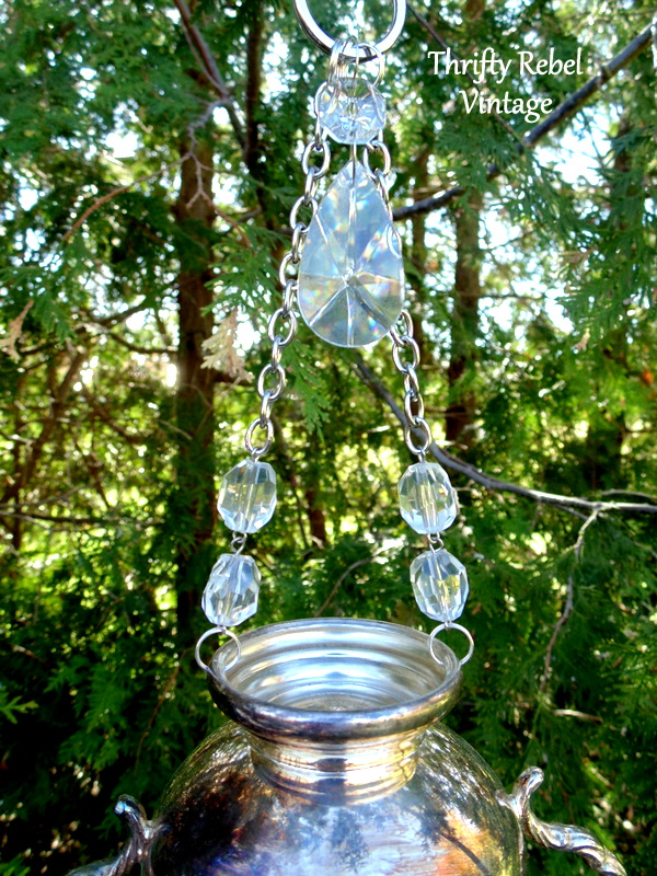 Upcycled silver sugar bowl wind chime