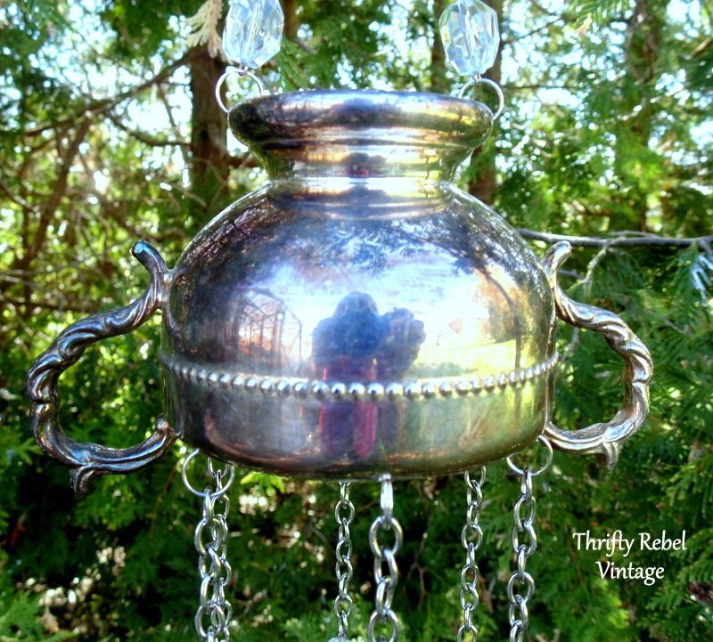repurposed silver sugar bowl wind chimes