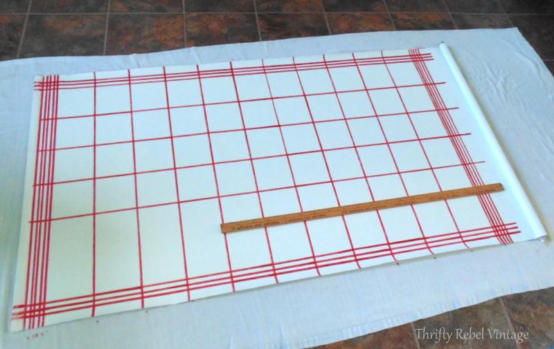 Faux tea towel vinyl blind makeover