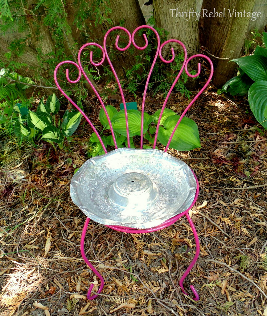 repurposed chair bird feeder