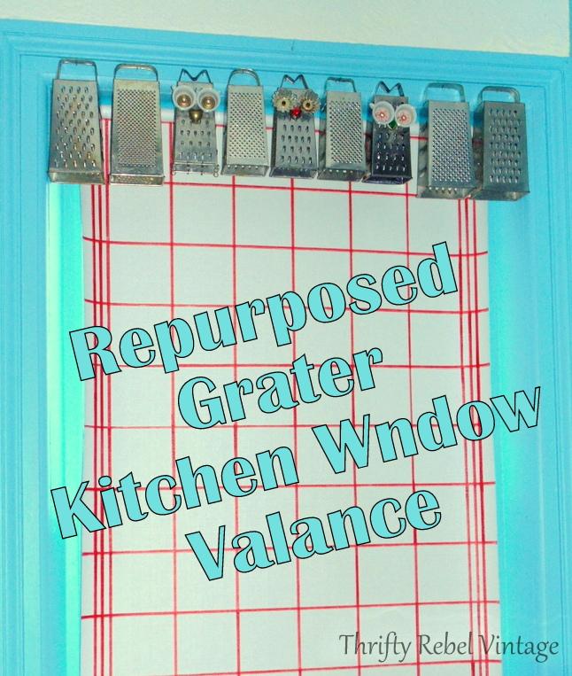 repurposed grater kitchen window valance