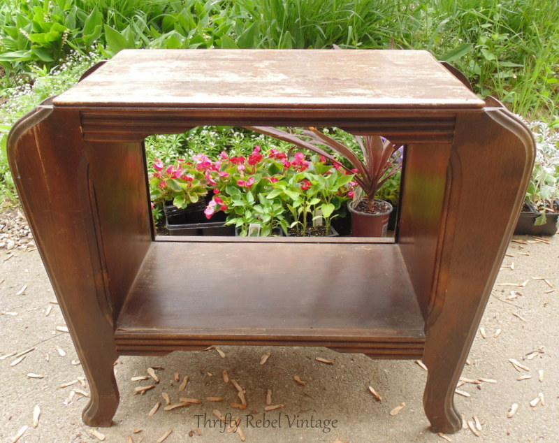 vintage wooden magazine table