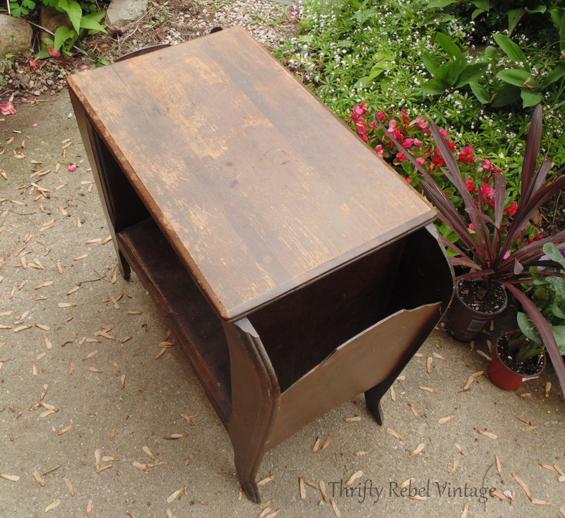 vintage wooden magazine table
