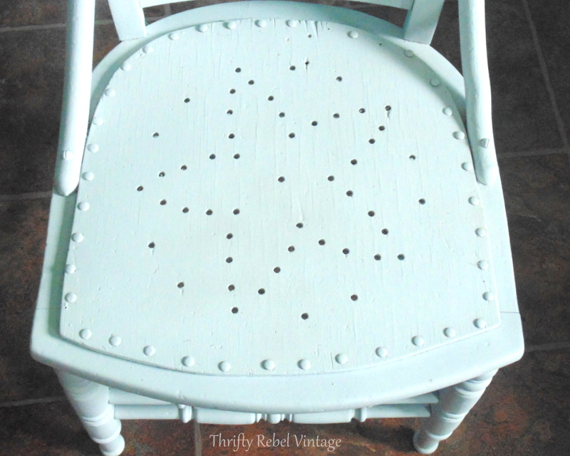 spray painted wooden chair makeover