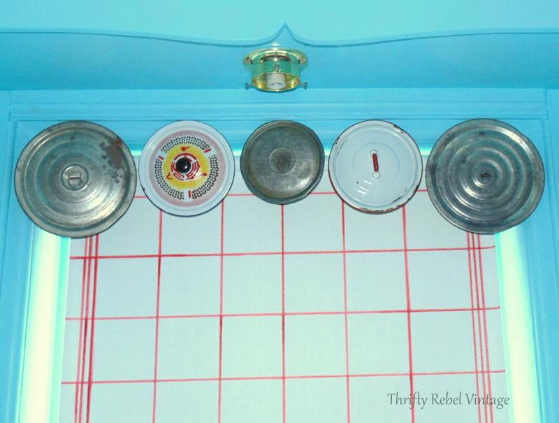 vintage repurposed lids window valance