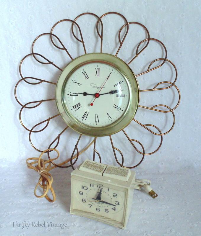 Vintage Ingraham sunburst clock and Vintage Westclox alarm clock