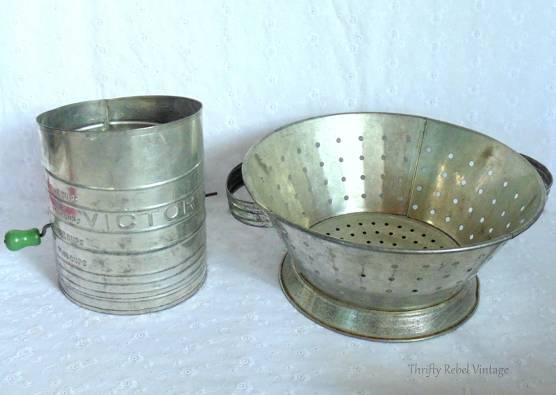 vintage Victor sifter and metal strainer