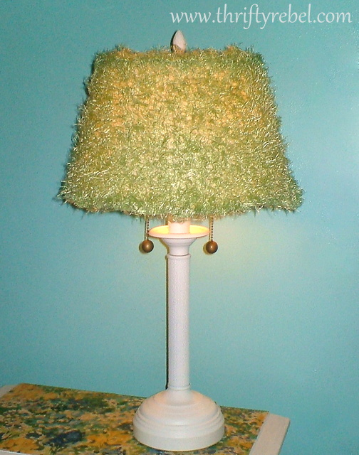 $3 Lamp and Lamp Shade Makeover with spray paint and repurposed scarf