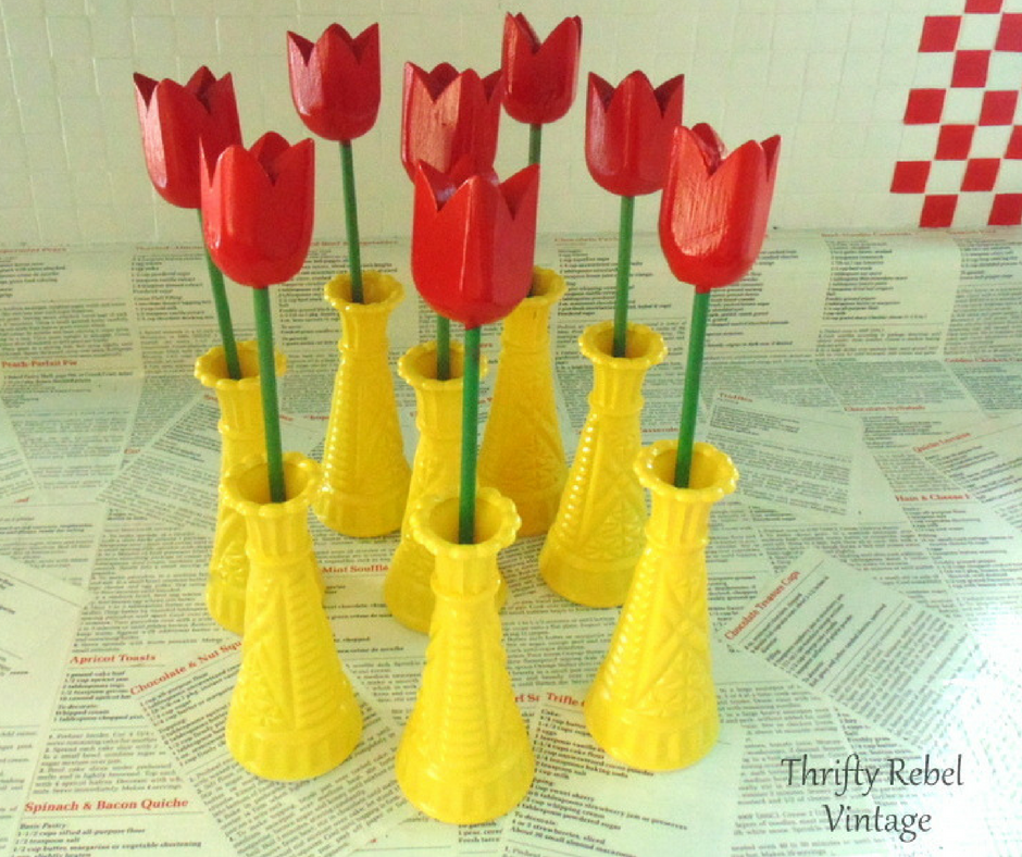 how to spray paint glass vases & wooden tulips like a pro
