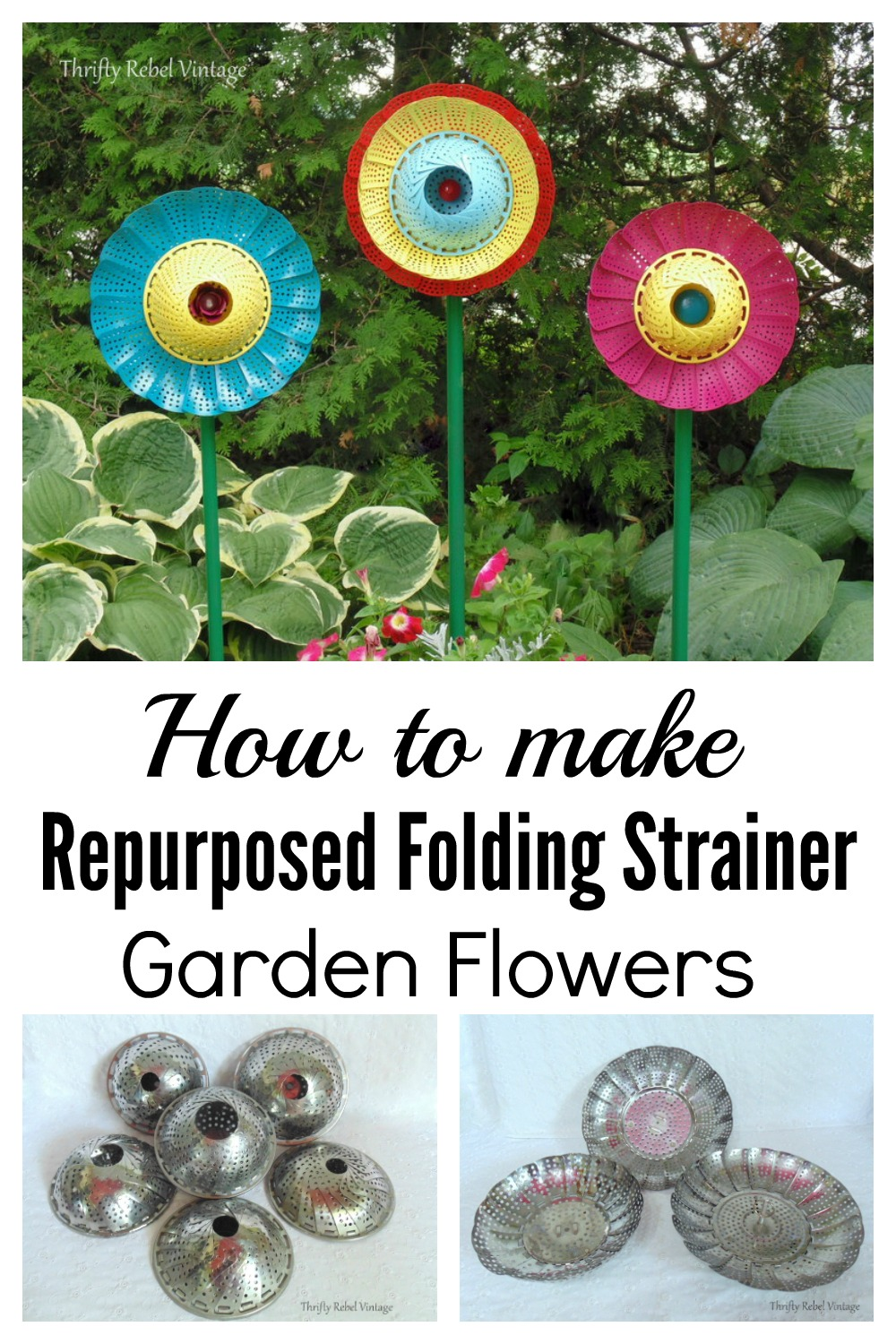 How to make repurposed folding strainer flowers