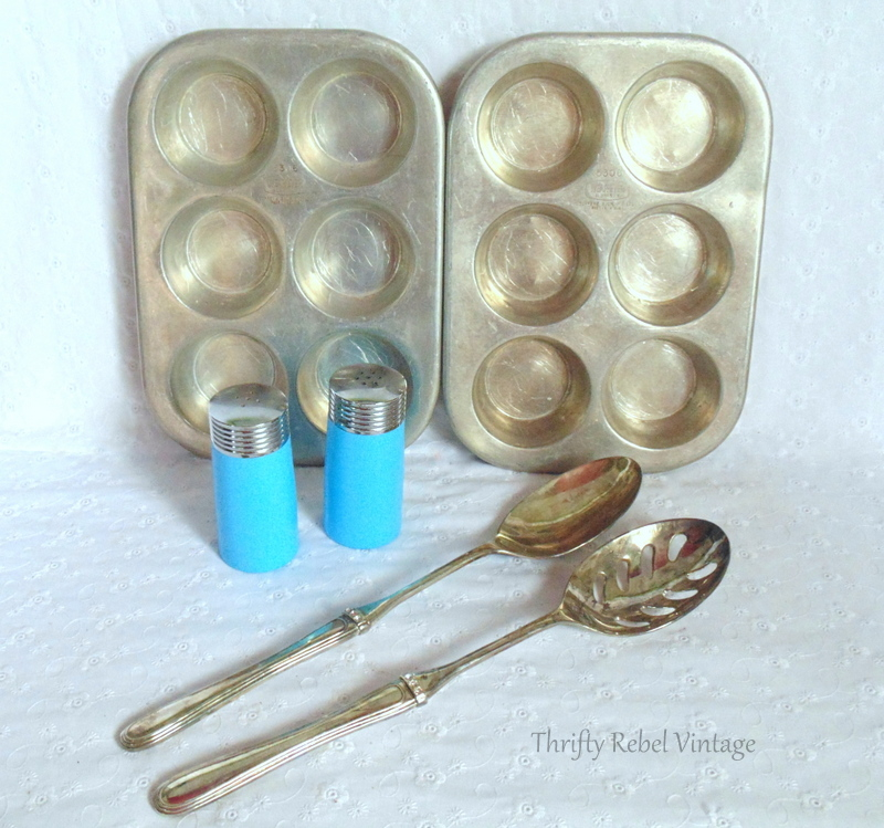 vintage muffin pans, salad tongs and salt and pepper shakers