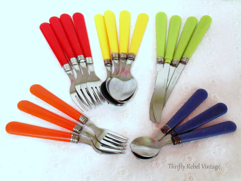 red yellow blue green orange vintage plastic cutlery