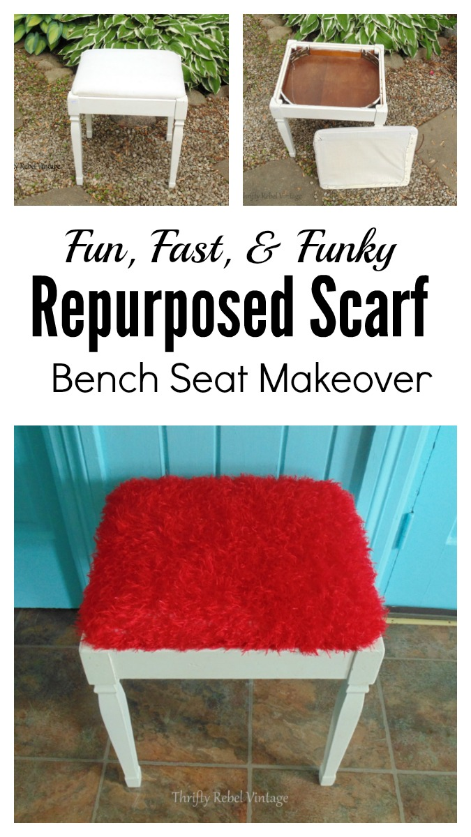 Fun, Fast, & Funky Repruposed Scarf Bench Seat makeover