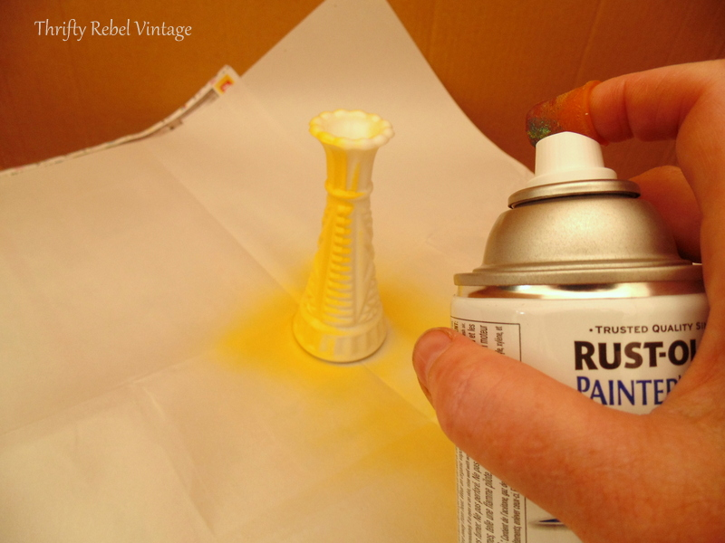 how to spray paint glass vases and wooden tulips like a. Black Bedroom Furniture Sets. Home Design Ideas