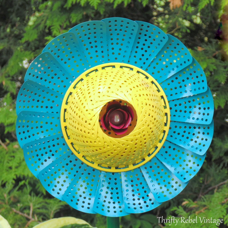 turquoise and yellow repurposed folding strainer flowers