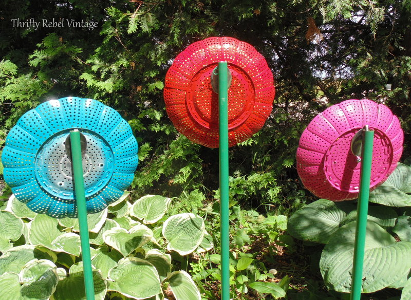 set of three repurposed folding strainer flowers