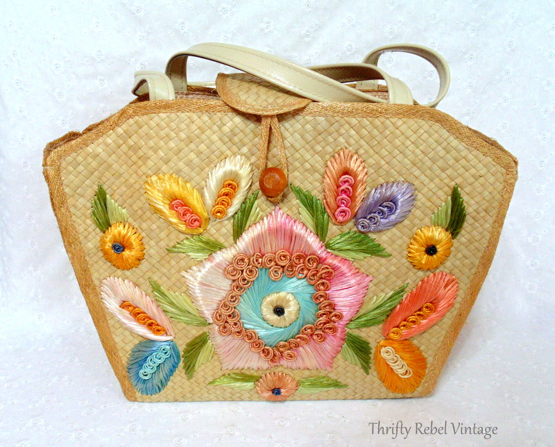 Make in Phillippines floral straw purse
