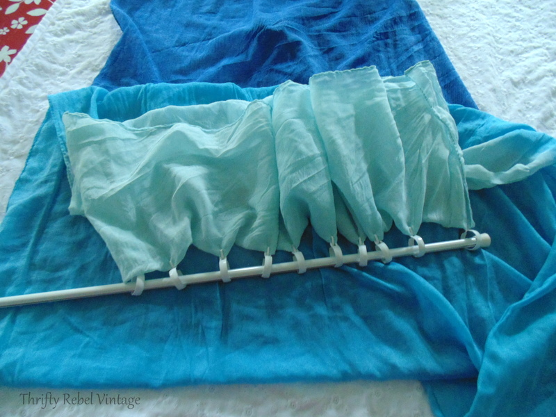 Adding curtain rings to repurposed scarf curtain