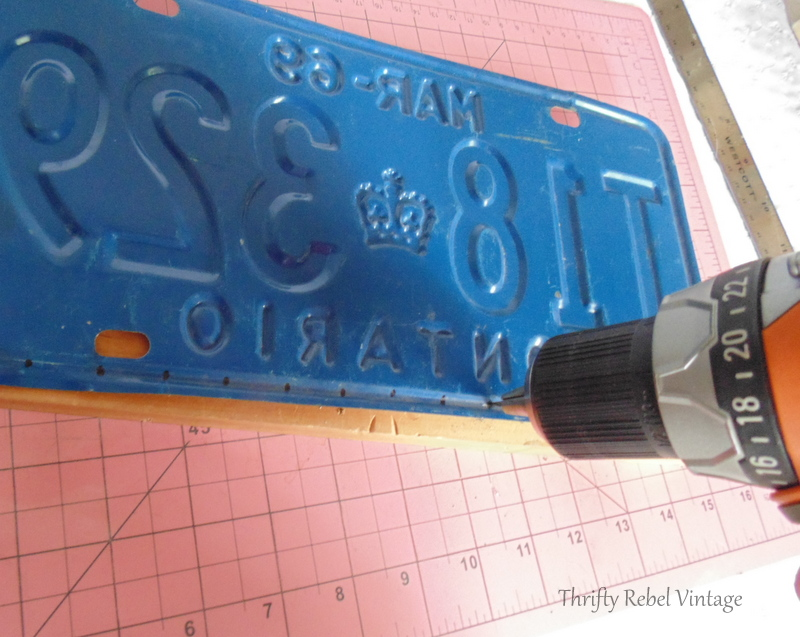drilling holes into license plate for license plate wind chime
