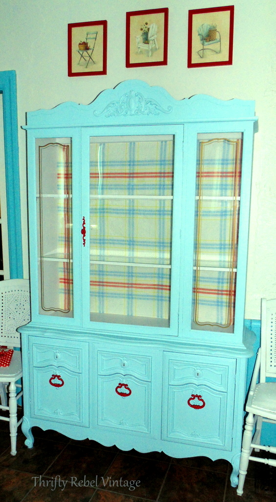 Repurposed tablecloth china cabinet makeover