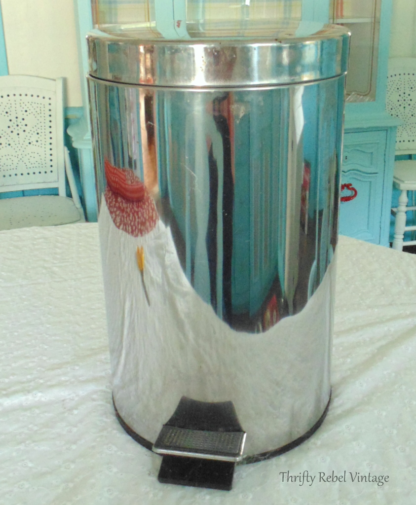 Stainless steel flip top lid before for how to decoupage a garbage can