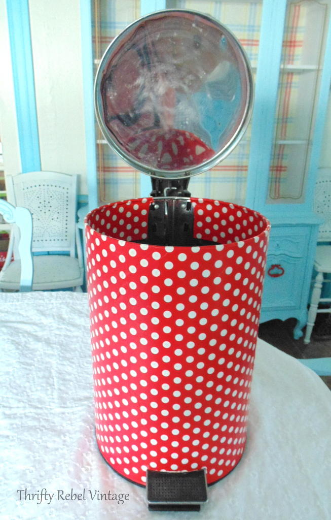 Gift wrapdecoupaged to main can body of can for how to decoupage a garbage can