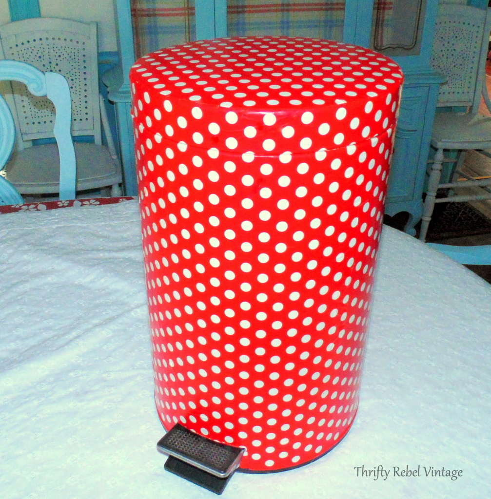 How to decoupage a garbage can with gift wrap makeover