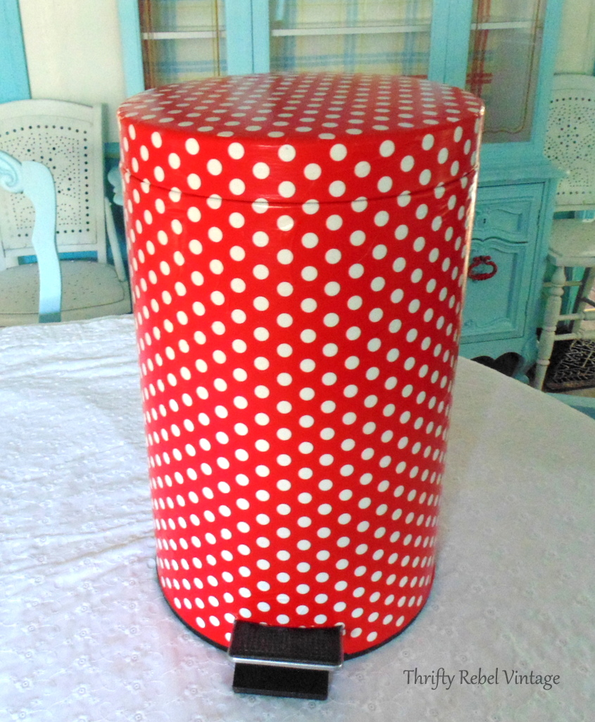 How to decoupage a garbage can with red and white polka dot wrapping paper