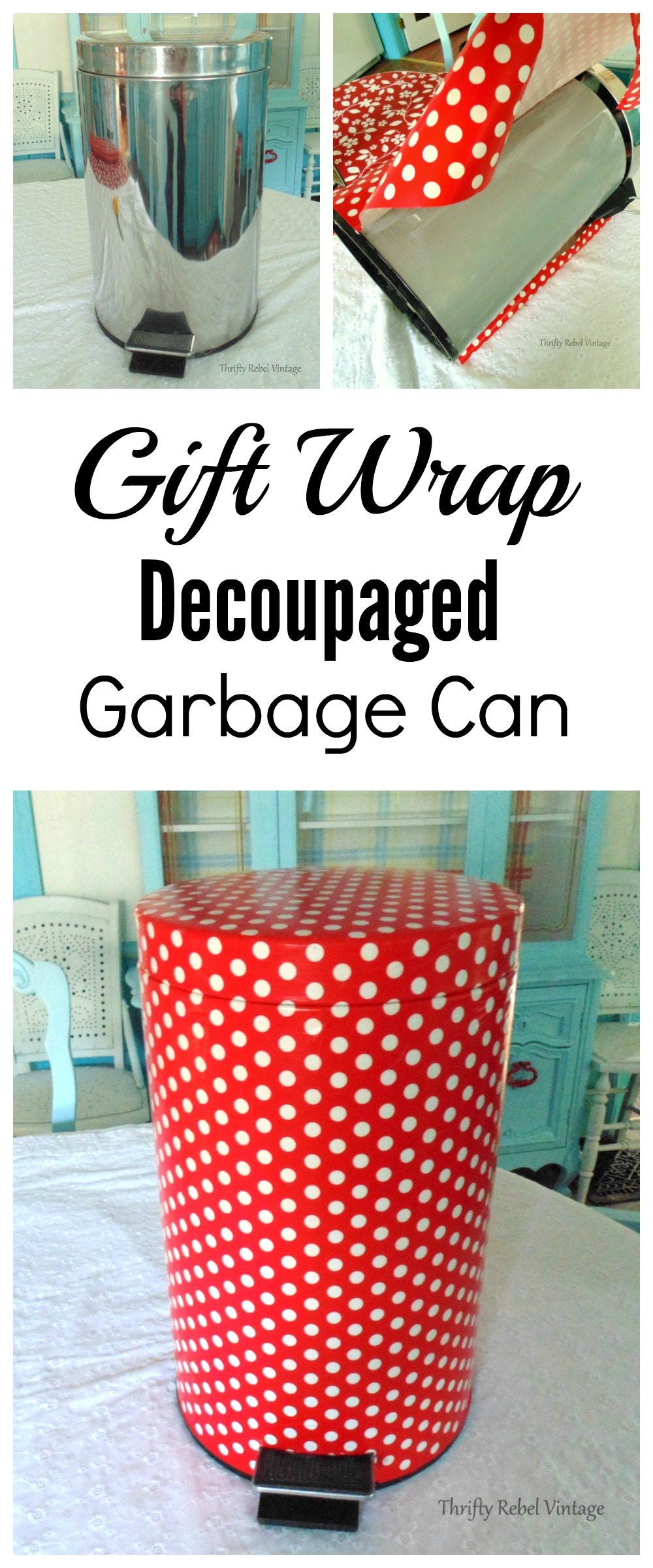 How to decoupage a garbage can with wrapping paper