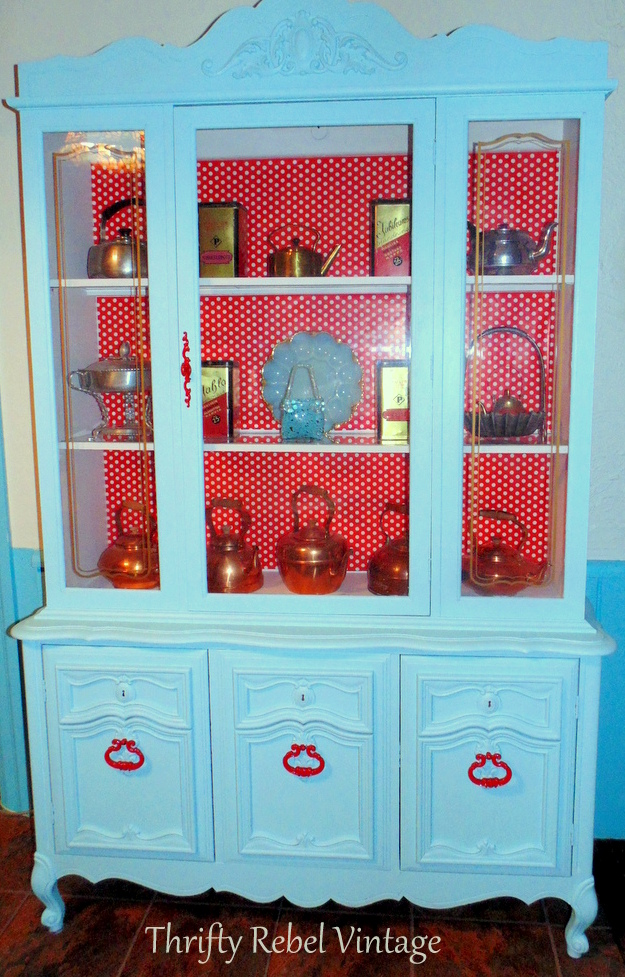 kitchen china cabinet makeover with wrapping paper backing