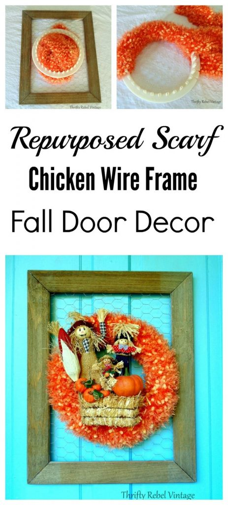 repurposed orange scarf scarecrow wreath attached to chicken wire rustic frame for fall door decor