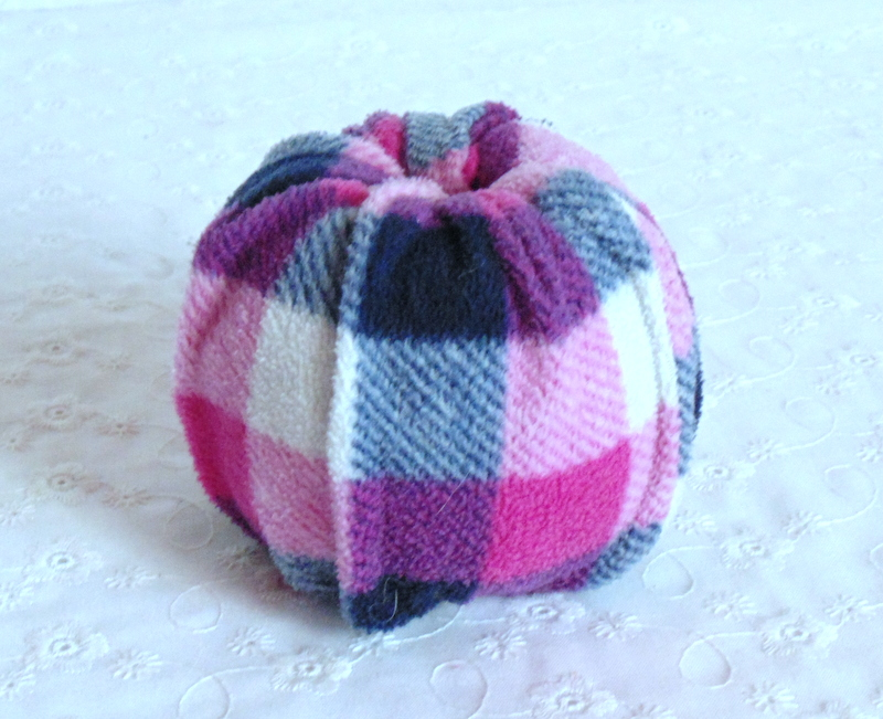 Stuffed twine roll for no sew pumpkins made from flannel pants
