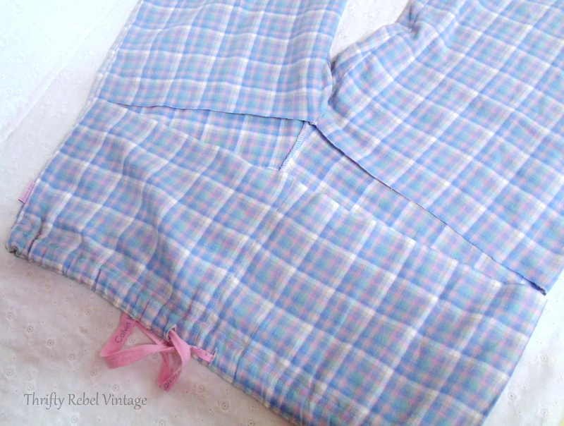 Cutting the pants for easy no sew window valance made from flannel pants