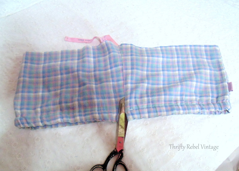 Cutting the pants for easy no sew window window valance made from flannel pants