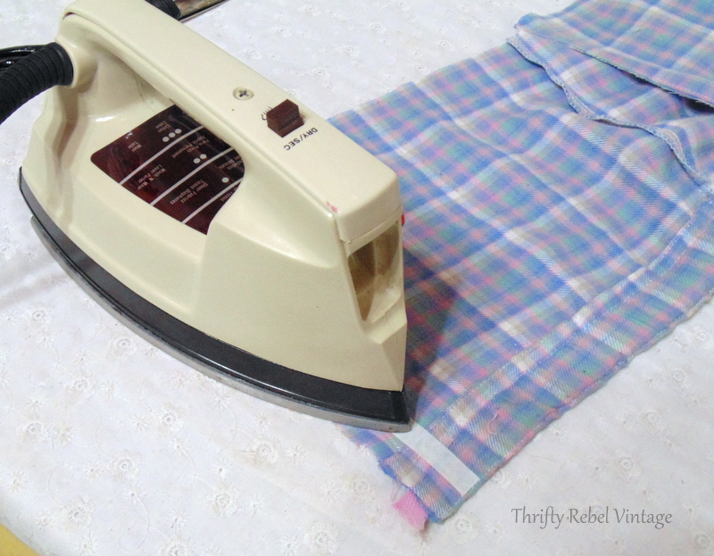 Ironing on fabric adhesive for easy no sew window window valance made from flannel pants
