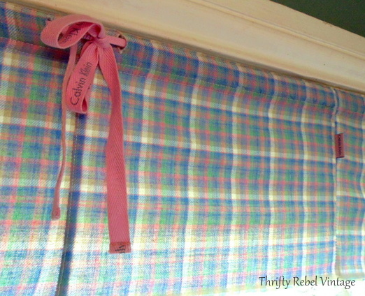 Easy no sew window valance made from flannel pants