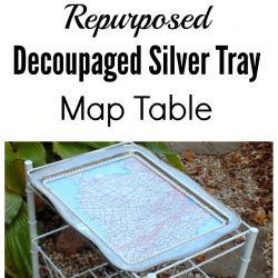 Decoupaged Silver Tray Map Top Table