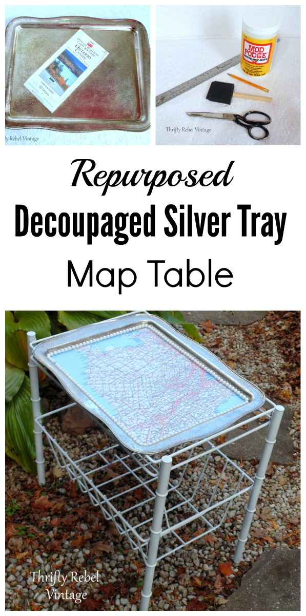 Decoupaged Silver Tray Map Top Table How