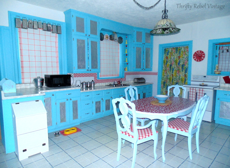 Under $100 red and aqua kitchen makeover reveal after