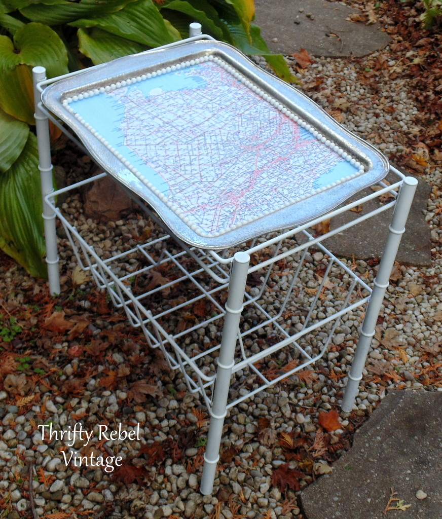 decoupaged and spray painted silver tray map magazine table