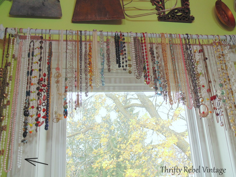 necklace window valance for decoupaged silver tray map table