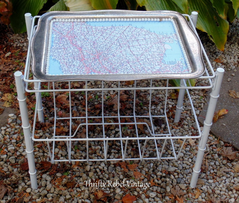 spray painted and decoupaged silver tray map table