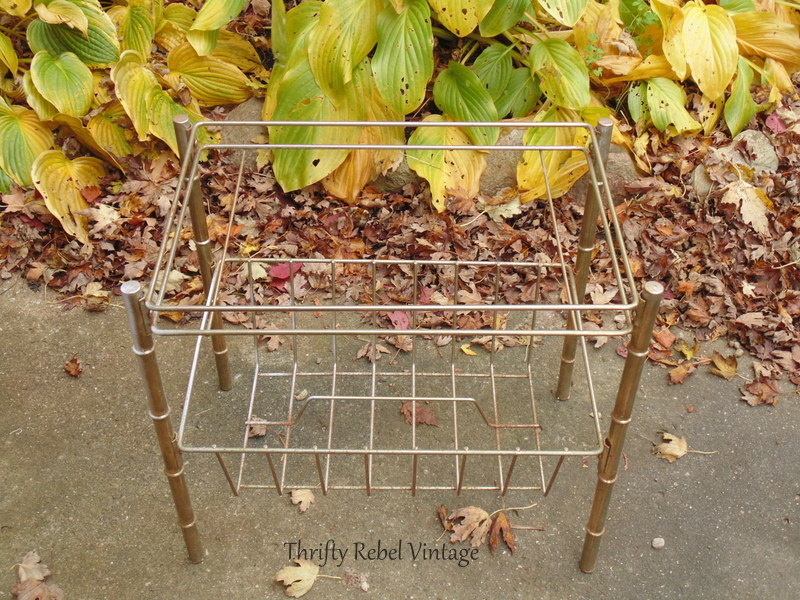 vintage metal magazine stand for decoupaged silver tray map table
