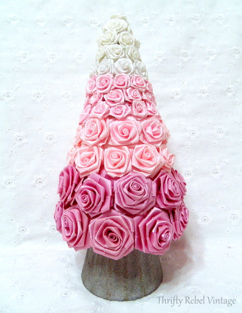 Ombre effect diy miniature rose Christmas tree