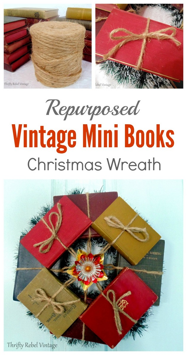 Make a conversation piece book wreath using small books, a dollar store wreath, and some jute twine.