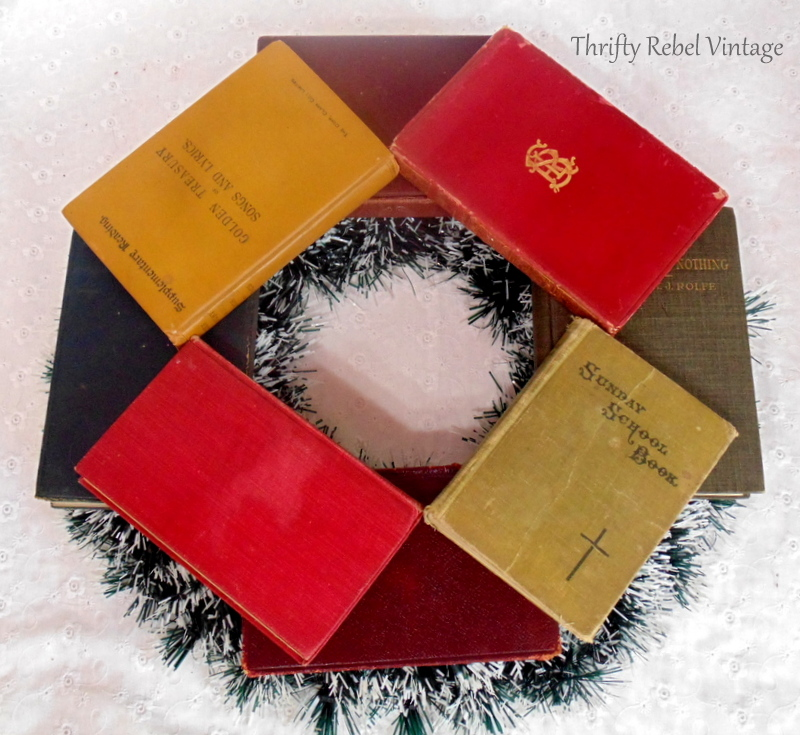 dry fitting books on wreath for book wreath
