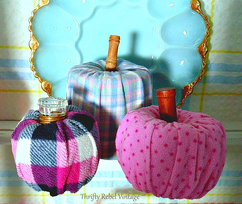 Quick and easy diy flannel fabric pumpkins