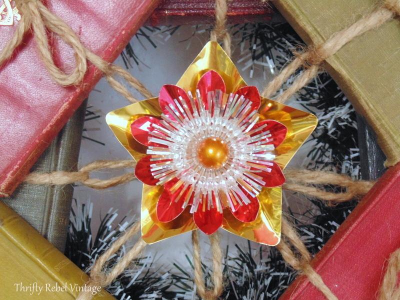 foil light reflector start on repurposed book wreath