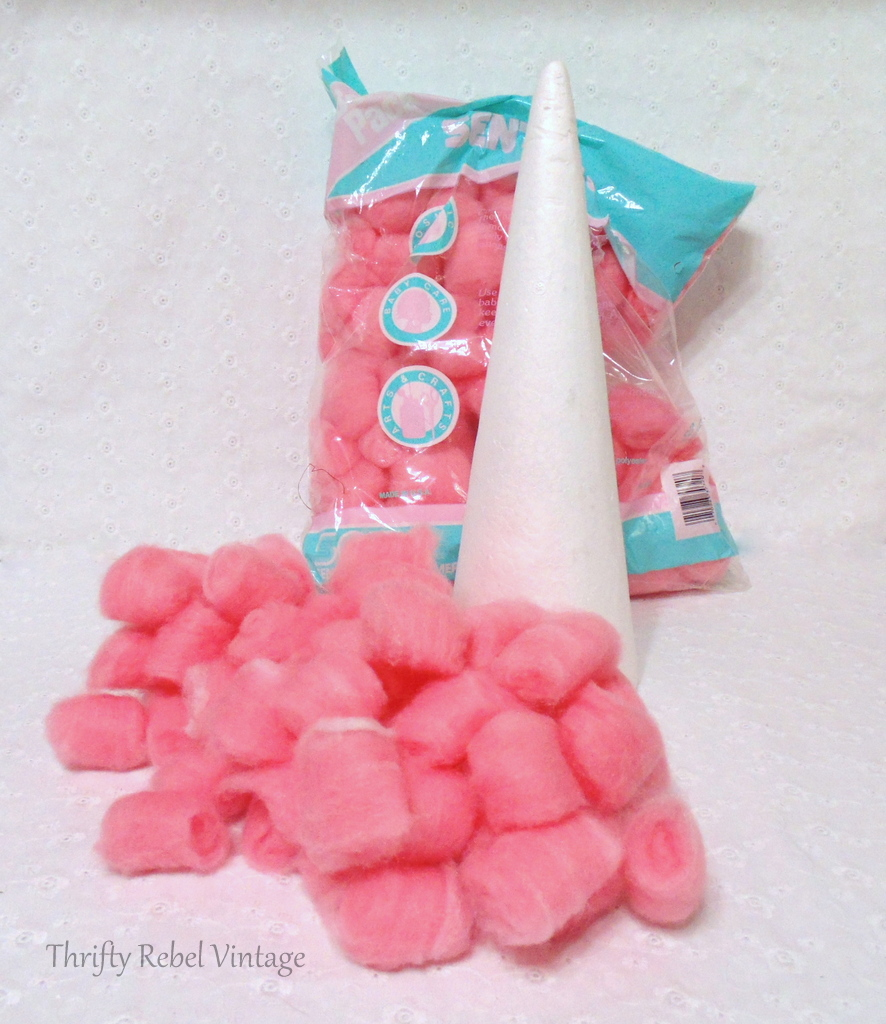 pink craft fluffs and styrofoan cone for diy Christmas tree